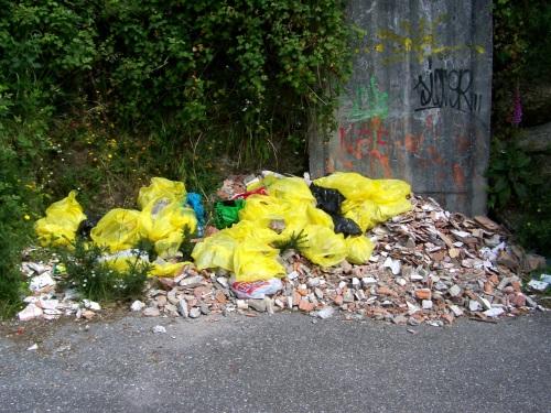 Estas bolsas cheas de restos de obra levan dende maio tirados a caron do túnel.