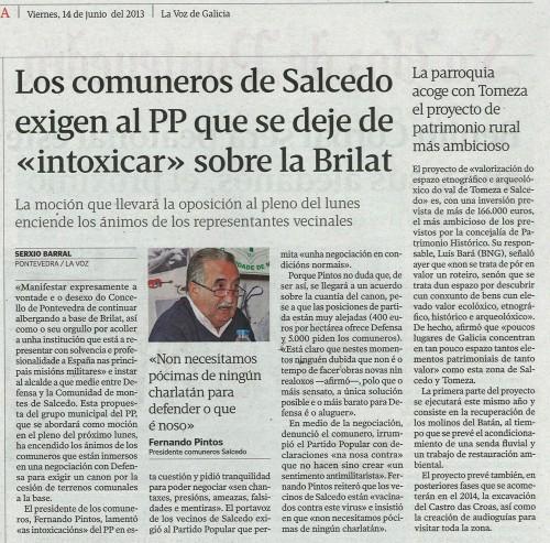 La Voz, 14 de xuñoñ de 2013.