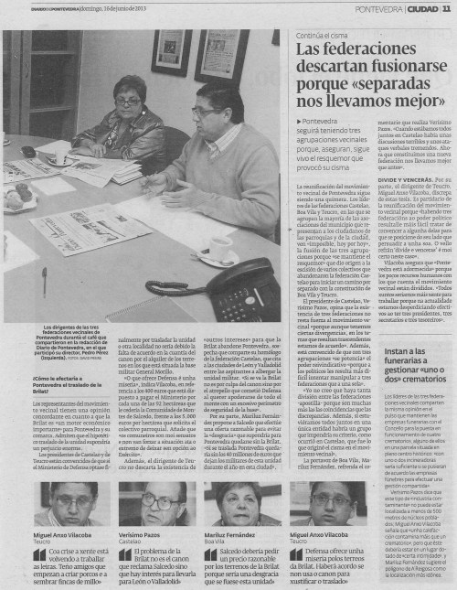 Diario de Pontevedra, 16 de xuño de 2013.
