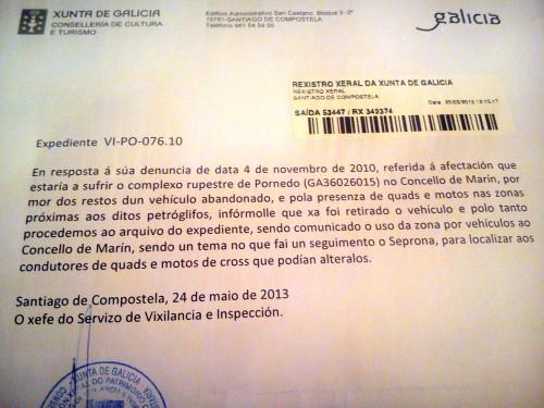 Carta da Xunta en resposta ao escrito de afectación dos petroglifos do Pornedo.