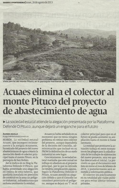 Diario de Pontevedra, 26 de agosto de 2013.