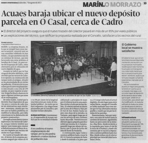 Diario de Pontevedra, 7 de agosto de 2013.