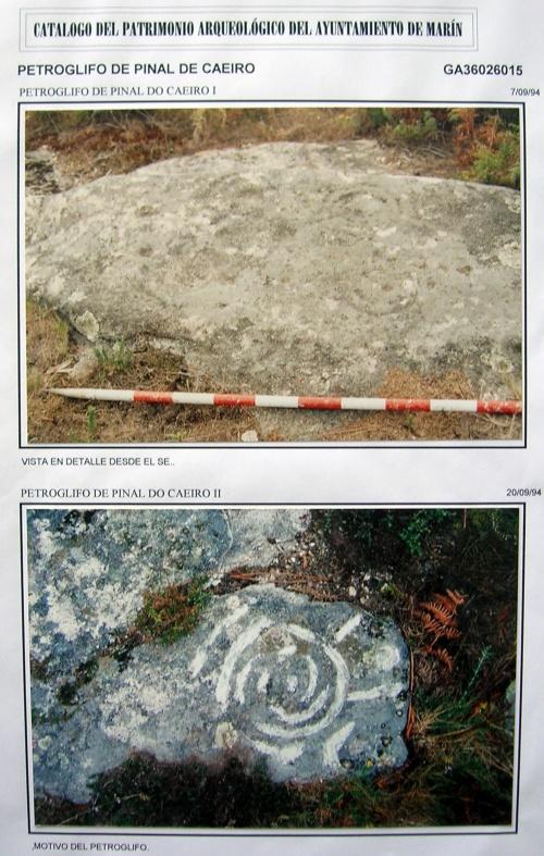 Fotos dos petrolifos de Pinal de Caeiro que figuran na ficha de Patrimonio.