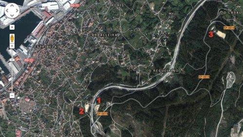 Mapa dos verquidos ilegais de rodas: 1, pista da variante; 2, explanada do Pituco; 3, aparcadoiro de Lourizán.