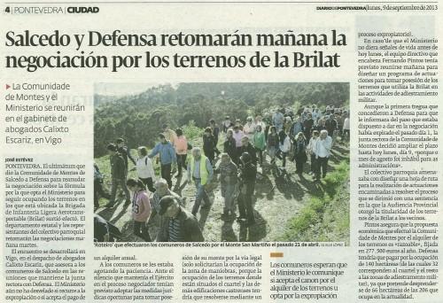 Diario de Pontevedra, 9 de setembro de 2013.