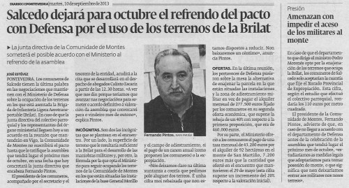 Diario de Pontevedra, 10 de setembro de 2013.