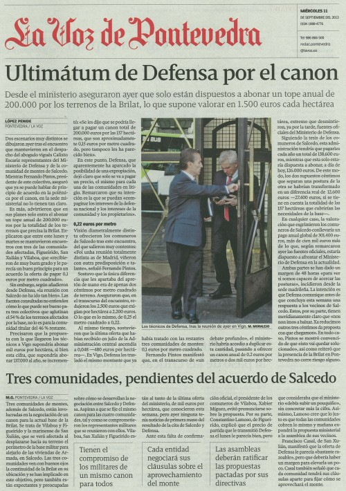 La Voz, 11 de setembro de 2013.