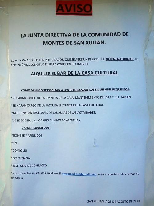 Documento anunciando o aluguer do bar, con data do 23 de agosto de 2013.