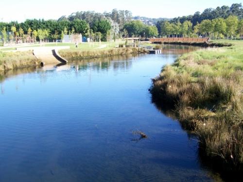 A xunqueira e mais o río na Illa do Covo, ou Illa das Esculturas.