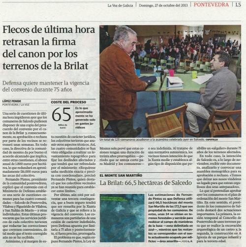 La Voz, 27 de outubro de 2013.