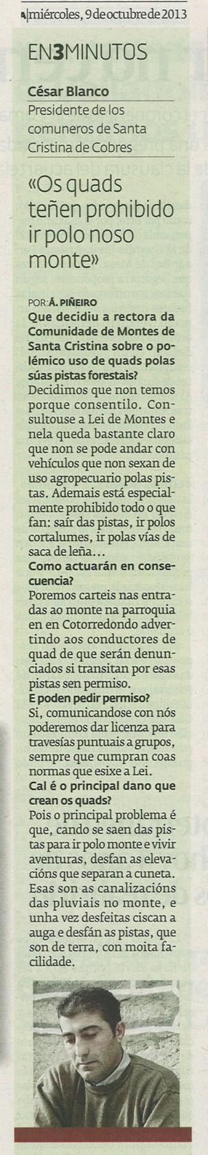 Diario, 9 de outubro de 2013.