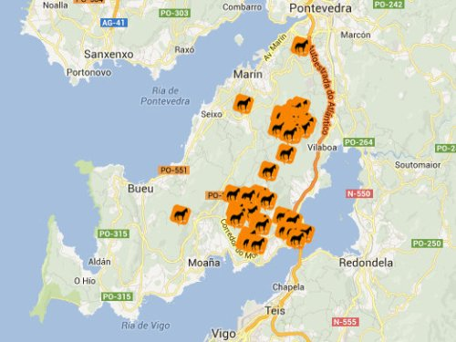 Mapa do Morrazo sobre a presenza de cabalos con pexas (fonte: www.senpexas.info).