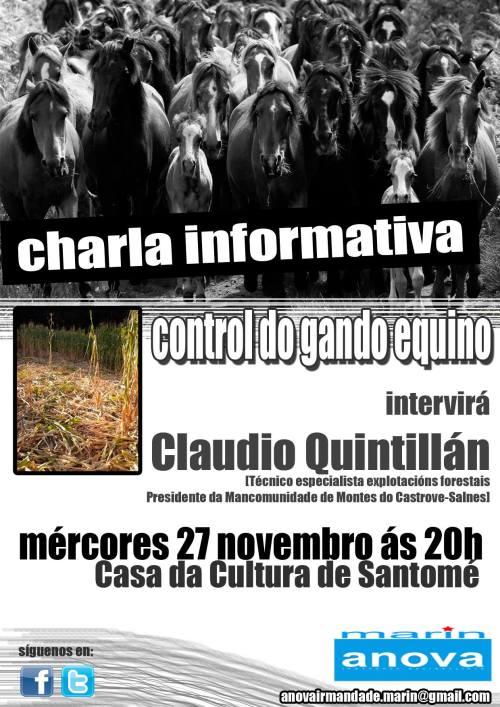 Charla de Claudio Quintillán en Santomé sobre o control do gando equino.