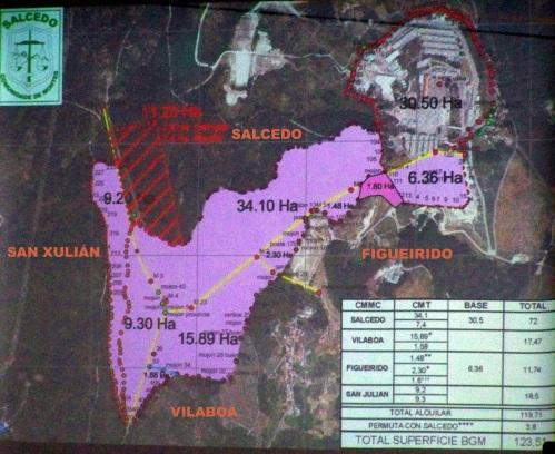 Mapa do preacordo con Defensa aprobado pola Comunidade de Montes de Salcedo.