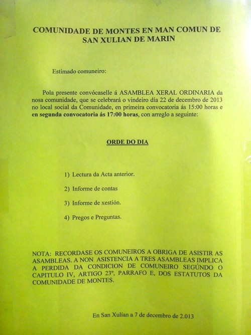 Anuncio da asemblea do 22 de decembro de 2013 na Comunidade de Montes de San Xulián.