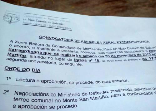 Convocatoria oficial da Comunidade de Montes de Salcedo aos comuneiros para a asemblea extraordinaria do 30 de novembro.