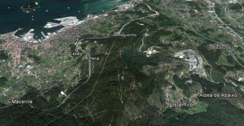 Vista en Google Earth dos montes de Salcedo, Vilaboa, Figueirido e San Xulián.