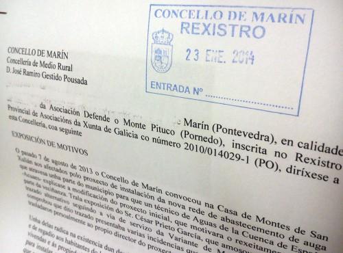 Escrito enviado á Concellería de Medio Rural.