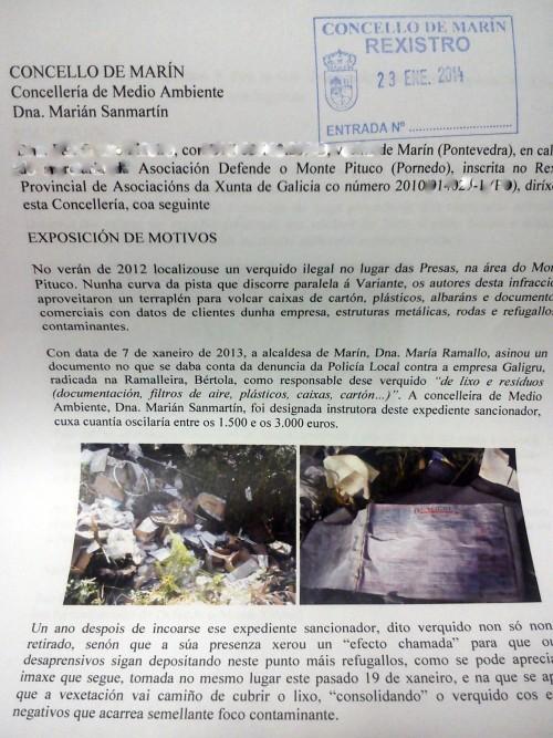 Escrito presentado no Concello sobre o verquido contaminante nas Presas.