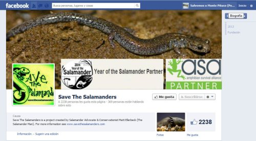Save the salamanders, en Facebook