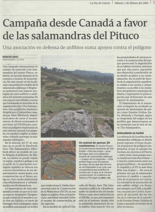 La Voz, 1 de febreiro de 2014.