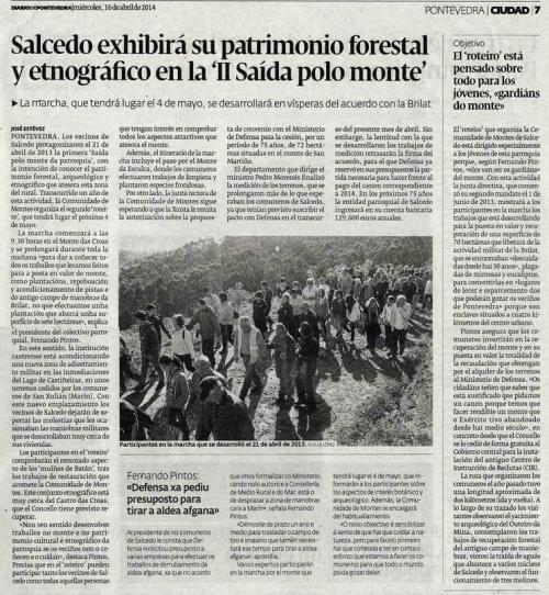 Diario de Pontevedra, 16 de abril de 2014.
