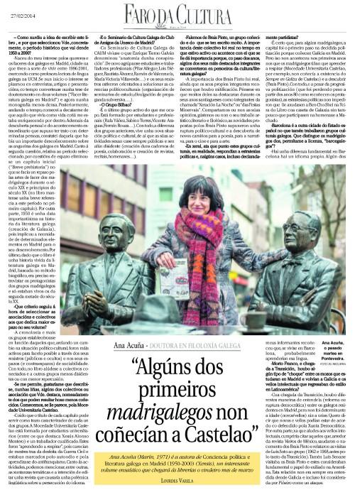 Entrevista de Ana Acuña no Faro da Cultura (27/02/2014).