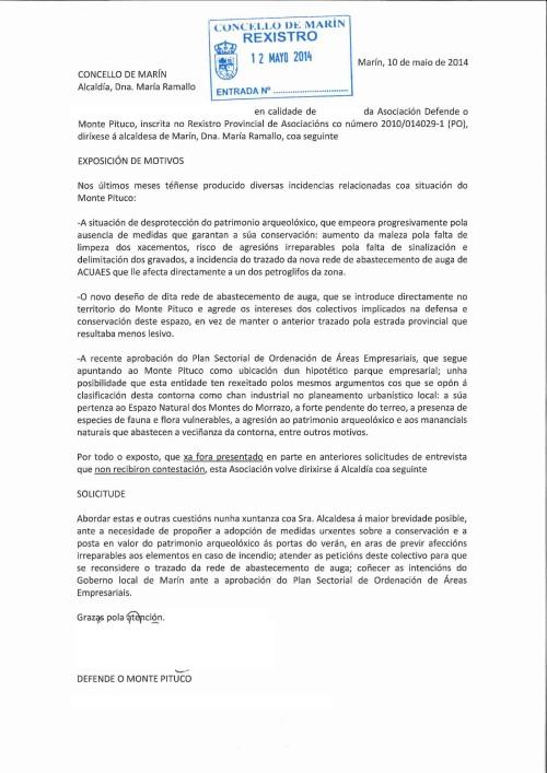 Escrito ao Concello de Marín solicitando entrevista coa alcaldesa sobre o Monte Pituco.