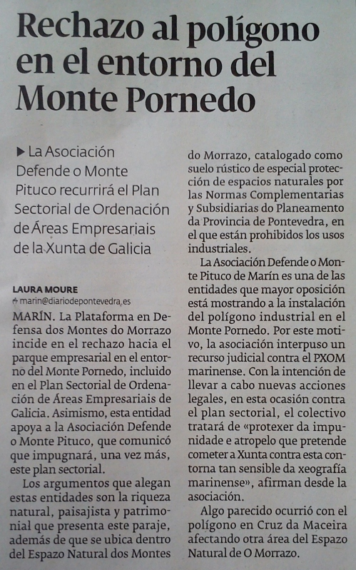 Diario de Pontevedra, 6 de xuño de 2014.