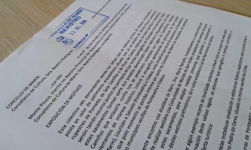 Escrito ao Concello solicitando a protección do patrimonio arqueolóxico do Pituco.