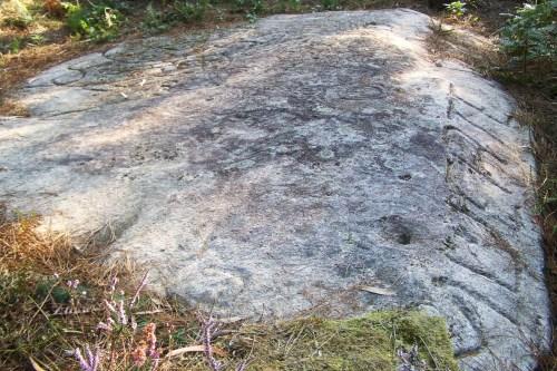 "Petroglifo histórico ""mutilado"" por Pepito Meijón coa palabra ""muerte""."