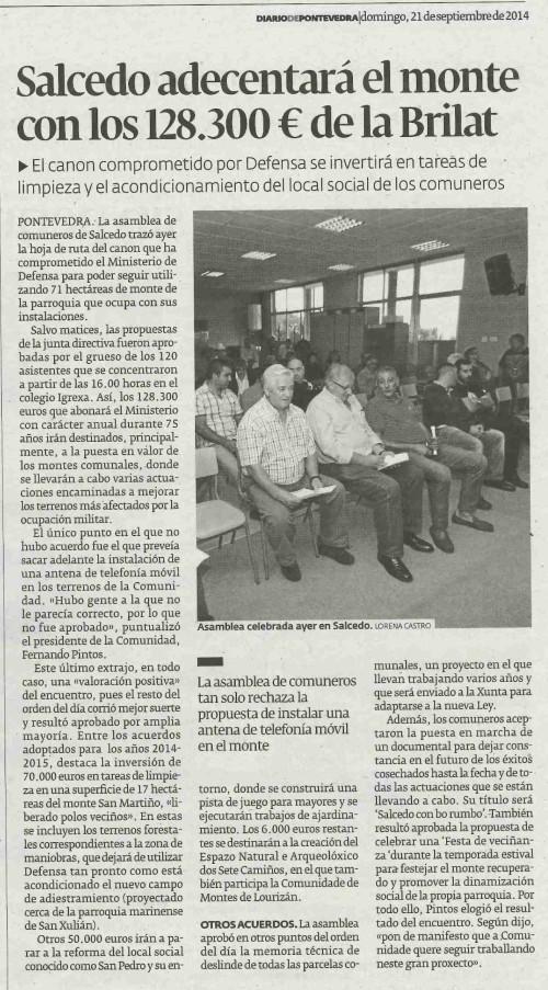 Diario, 21 de setembro de 2014.