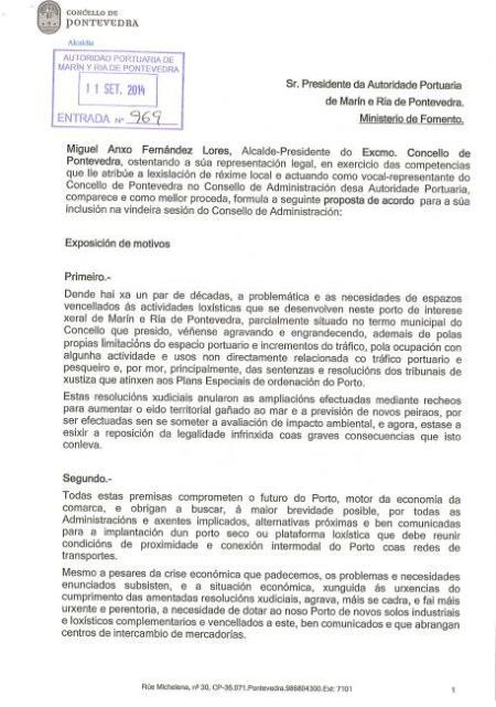 Carta do alcalde de Pontevedra.