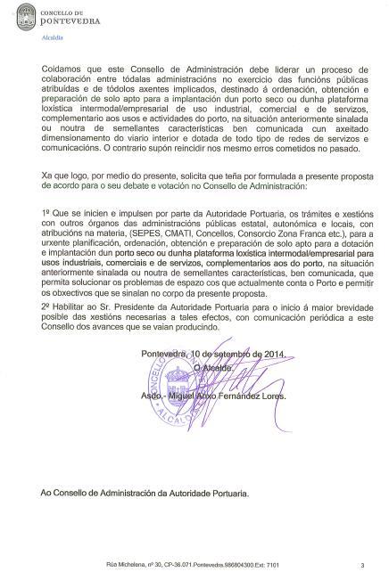 Carta do alcalde de Pontevedra