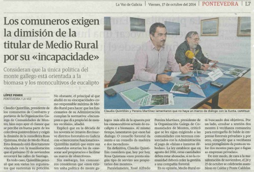 La Voz, 17 de outubro 2014.
