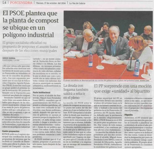 La Voz, 17 de outubro de 2014.