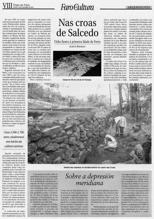 Faro da Cultura (Faro de Vigo), 23 de outubro de 2014.