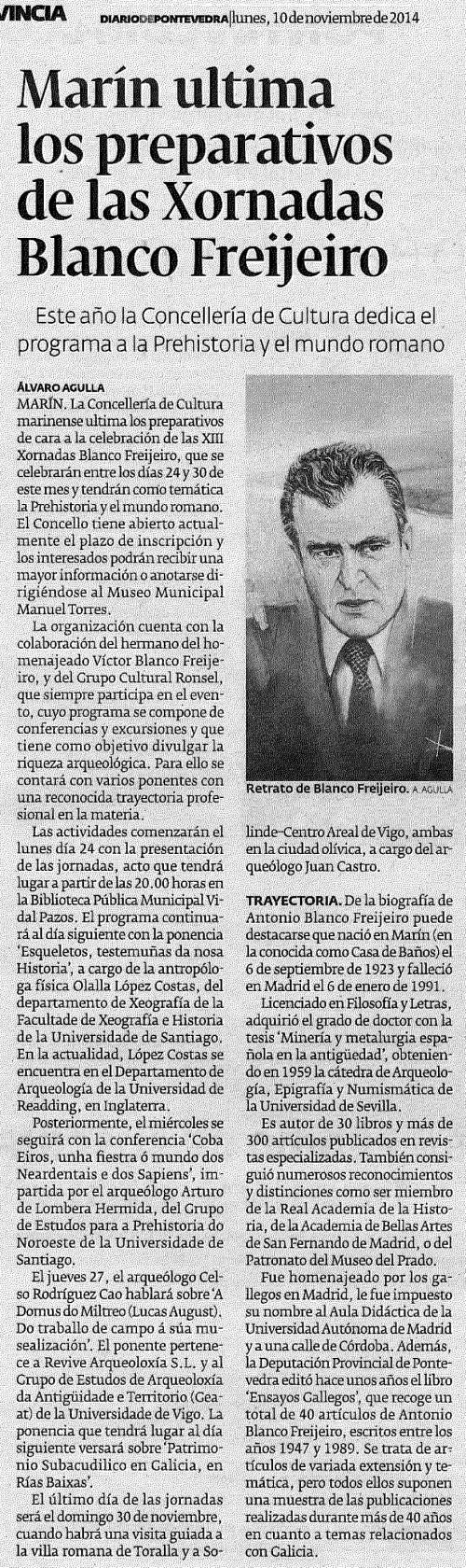 Diario, 10 de novembro 2014.