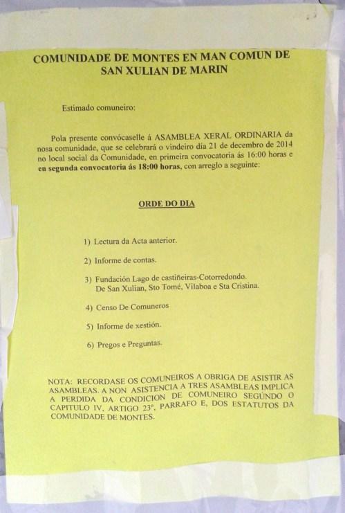 Asamblea da Comunidade de Montes de San Xulián, 21 de decembro.