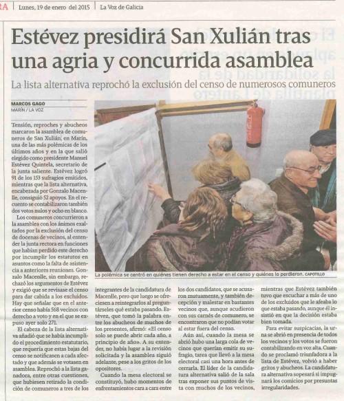 La Voz, 19 de xaneiro 2015.