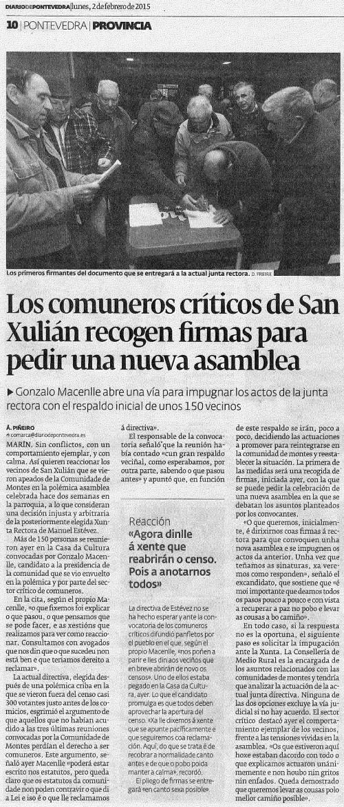 Diario, 2 febreiro 2015.