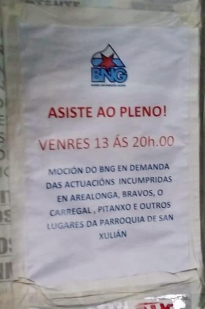Cartaz do BNG distribuído na zona da Laxe.