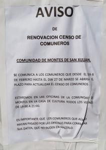 Aviso oficial da directiva da Comunidade de Montes de San Xulián.