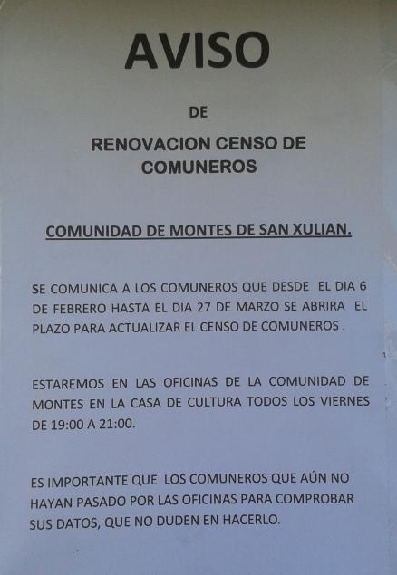 Aviso instalado esta semana pola Comunidade de Montes de San Xulián nos paneis informativos da parroquia.