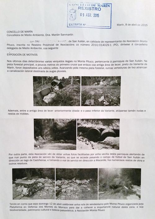 Escrito dirixido ao Concello de Marín, 09/04/15