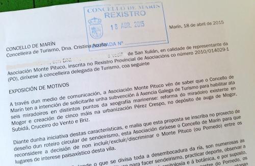 Escrito ao Concello de Marín sobre o proxecto dos miradoiros.