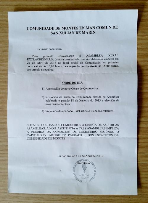 Carta da Comunidade de Montes de San Xulián.