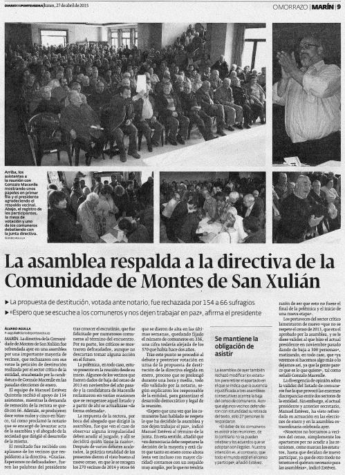 Diario, 27 abril 2015.