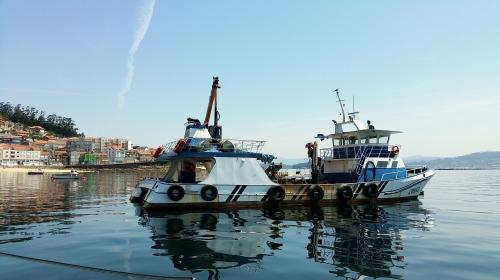 Navegando pola ría de Pontevedra.
