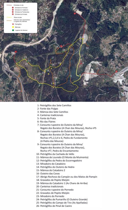 Panel da ruta dos Sete Camiños